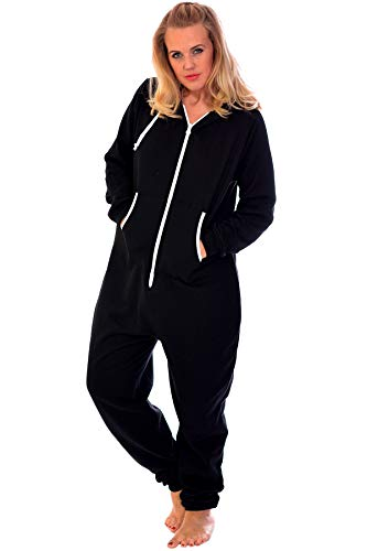 Nouvelle Collection Unisex Hooded Zip Onesie Black L