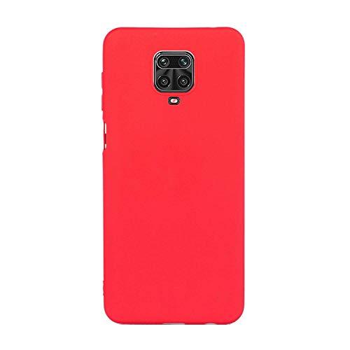 CUZZCASE Funda para Xiaomi Redmi Note 9S/Redmi Note 9 Pro/Poco M2 Pro+{Protector de Pantalla de Vidrio Templado} Carcasa Silicona Suave Gel Rasguño y Resistente Teléfono Móvil Cover-Rojo