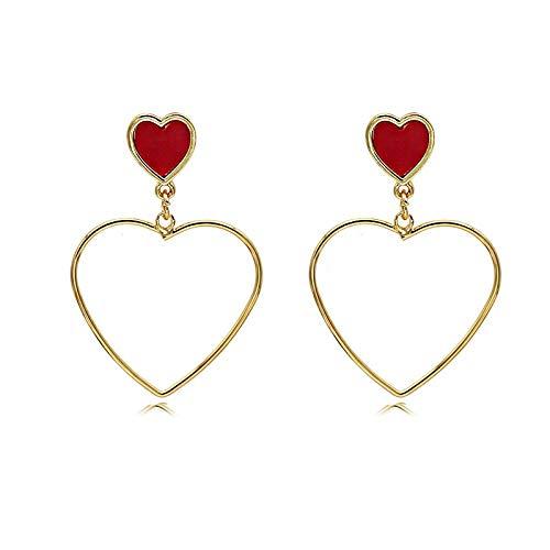 Preisvergleich Produktbild Ohrringe Für Damen Rote Liebesohrringe,  Herzförmiges Herz,  S925 Silberstiftohrringe,  Galvanisiertes Gold,  3 * 4, 3 Cm