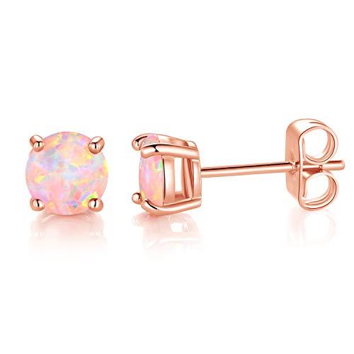 MDFUN Rose Gold Tone 3.0mm Round Brilliant White Opal Stud Earrings