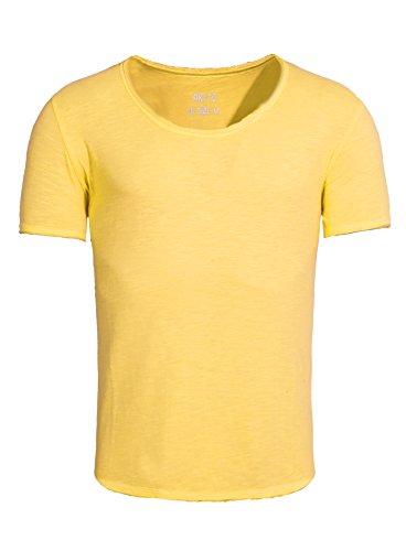 Akito Tanaka Herren T-Shirt New Basic Einfarbig Modern Sommer Gelb L