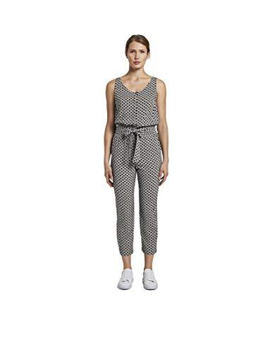 TOM TAILOR Damen Overalls & Jumpsuits Ärmelloser Jumpsuit mit elastischem Taillenbund Black Circle Design,36