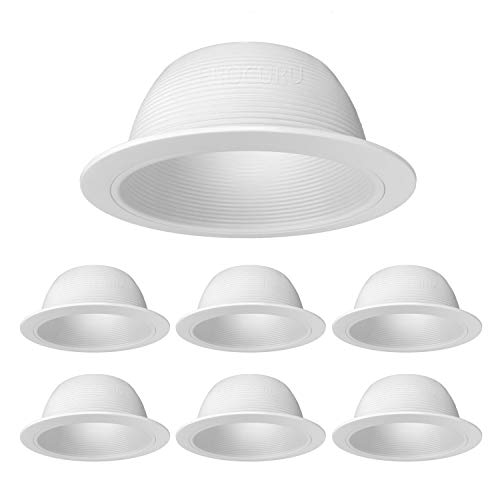 "[6-Pack] PROCURU 6"" Metal Recessed Can Light Trim Cover, Step Baffle with Ring, White"
