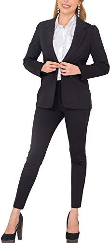 Marycrafts Women's Business Blazer Pant Suit Set for Work (Black, 14)