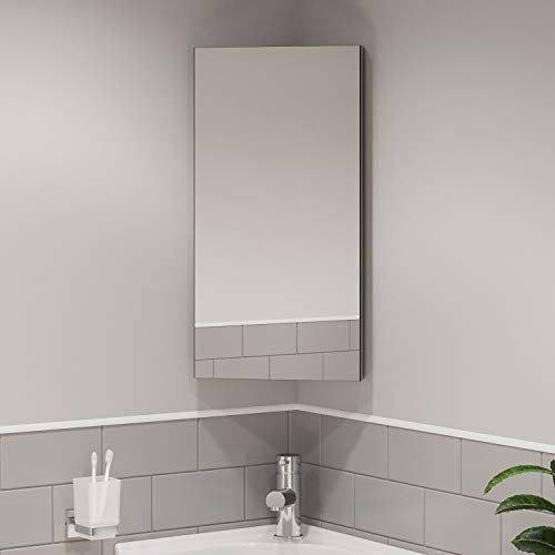 Artis Wall Mounted Single Mirror Door Corner Bathroom Cabinet Cupboard Stainless Steel