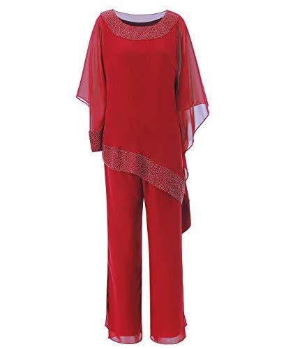 Pretygirl Frauen 2 Stücke Pailletten Chiffon Mutter der Braut Kleid Hose passt Lange Ärmel für Hochzeit(US 16 Plus, Rot)