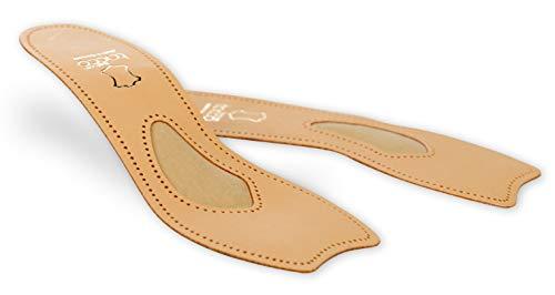 Tacco Exclusive 3/4 Leder Einlegesohlen, zehenfrei – Premium Schuheinlagen aus Leder für Pumps, Heels und Freizeitschuhe – Damen und Herren Schuhsohlen mit orthopädischer Mittelfußstütze (36 EUR)