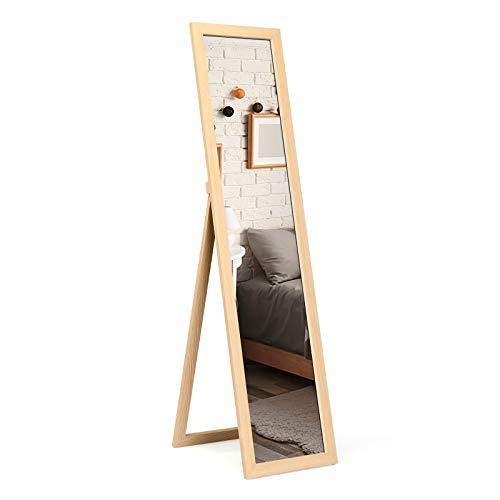 COSTWAY Miroir Pleine Longueur sur Pied, Grand Miroir avec Cadre en MDF 155 cm x 37 cm, Miroir de Plain Pied Rectangulaire pour Chambre, Salon et Entrée (Naturel)
