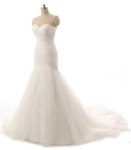 Charm4you Damen Elegant Bandeau Meerjungfrau Hochzeitskleid Brautkleider Trägerlos Maxi Kleid