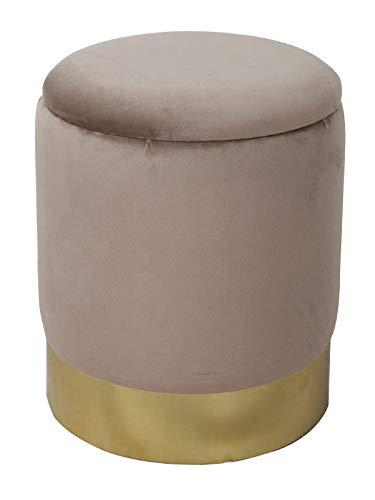 casamia Samthocker Sitzhocker Samt Pouf Sitzpouf Velour Hocker Hochwertig mit Stauraum u. Deckel Ø 31 H 38 cm Farbe Taupe