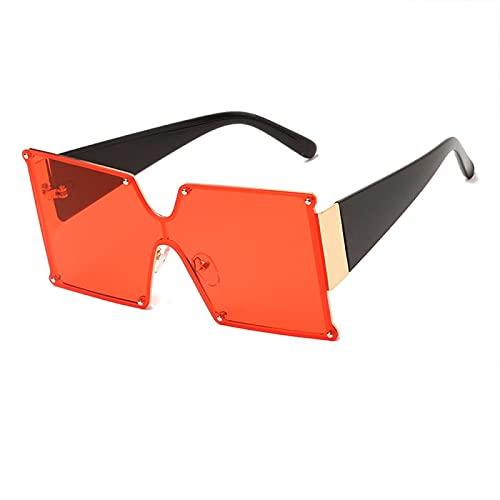 Gafas de Sol Sunglasses Gafas De Sol De Gran Tamaño Sin Montura, Púrpura, Rosa, Mujeres, Hombres, Diseñador, Cuadrado, Parte Superior Plana, Gafas De Sol Steampunk, Una P