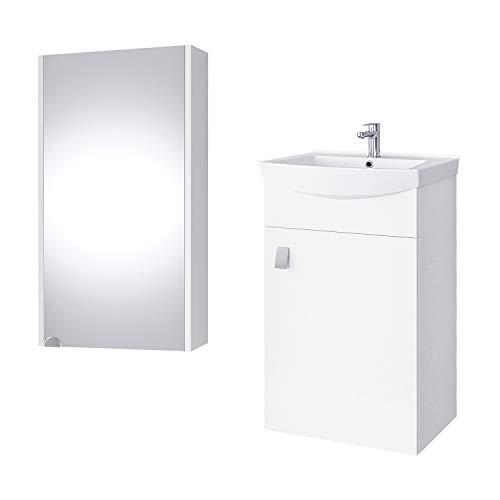 Planetmöbel Badmöbel Set Waschtisch + Waschbecken + Spiegelschrank Gäste Bad WC (Weiß)