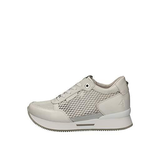 Apepazza Sneakers Casual Damen Leder perforiert Schwarz Unterseite aus weißem Gummi mit 4 cm Erhöhung, Weiß - Bianco - Größe: 35 EU