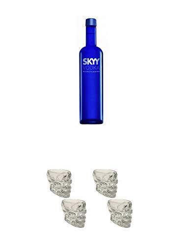 Skyy Vodka USA 0,7 Liter + Wodka Totenkopf Shotglas 2 Stück + Wodka Totenkopf Shotglas 2 Stück