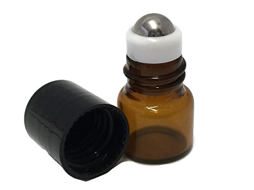 1ml Clear Mini Glass Roll-on Bottle With Stainless Steel Ball /& Caps 144