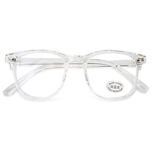 KOOSUFA Blaulichtfilter Brille Computerbrille Retro Ultra Licht TR90 Rund Brillengestelle Damen Herren Gaming Bluelight Filter Brillen Ohne Sehstärke Anti Müdigkeit mit Etui (Durchsichtig)
