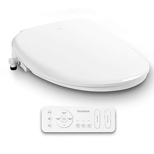 FlexiHome Electronic Bidet Toilet Seat with Wireless Remote, Cleansing Water, Adjustable Spray Pressure And Position, Air Dryer, Soft Closing Lid, Heated Seat, Nightlight, Elongated White