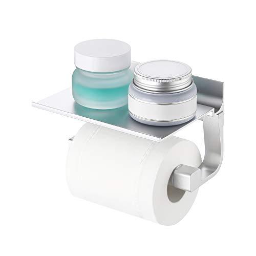 Umi. von Amazon Toilettenpapierhalter mit Ablage Klopapierhalter Klorollenhalter Papierrollenhalter Papierhalter WC Toilettenpapier Halter Aufbewahrung Wandmontage Aluminium Silber, BPH400