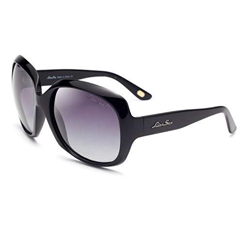 LianSan Occhiali da sole polarizzati Oversize & Round Women Shades Eyewear Occhiali da vista classici Occhiali da vista Fashion Style UV400-Shining For Ladies L3113 (Nero polarizzato)