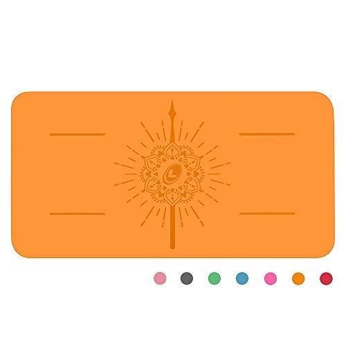 Liforme Yoga Pad - Umweltfreundliches und Rutschfestes Yoga-Kniepolster, Ellbogen und Hände - Biologisch Abbaubare und Krifffeste Grip-Yoga-Matte Mit dem Einzigartigen Ausrichtungssystem - Orange