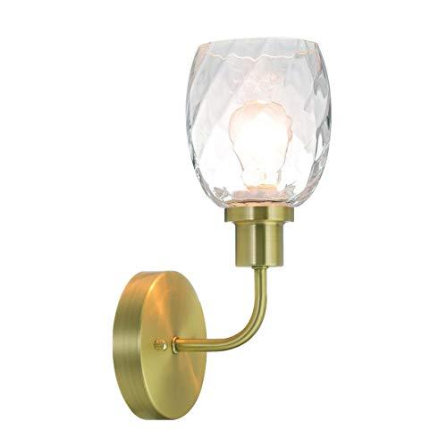 Aplique de pared Aplique de pared de 1 luz con vidrio transparente en latón satinado, iluminación de tocador de baño moderna adecuada para baño y cocina XiNBEi-Lighting XB-W1210-1-SB