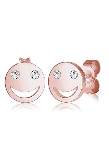 Elli Ohrringe Damen Smiley Face Emoji Stecker mit Swarovski® Kristalle in 925 Sterling Silber