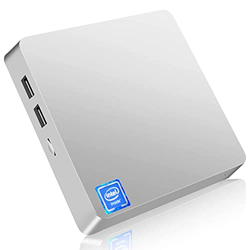 Mini PC, Windows 10 Pro Mini computadora sin Ventilador Intel Atom Z8350 4GB DDR3 64GB eMMC Computadora de Escritorio Soporte 4K HD, Salida HDMI + VGA, 2.4G / 5G WiFi, Bluetooth, Gigabit Ethernet