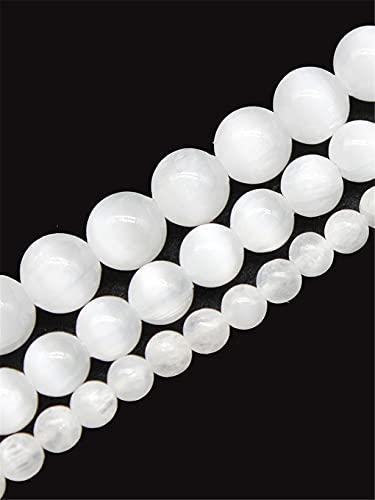 Perlas de piedra de ojo de gato blanco perlas de ópalo natural para hacer joyas DIY collar pulsera...