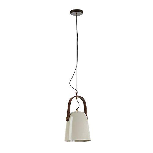 Kave Home - Lámpara de techo Zanie beige de 1 bombilla de acero y asa de madera