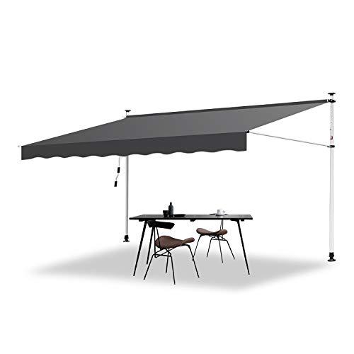 Hengda Markise Einziehbar Klemmmarkise Balkonmarkise Sonnenschutz ohne Bohren Höhenverstellbar (400 x 120 cm, Grau)