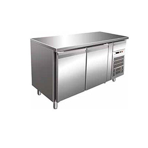 Tisch Gefrierschrank Gastronomie GN1/1belüftet 2Türen aus Edelstahl AISI 304Temp. - 18°/-22°C