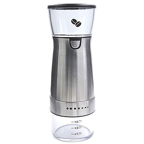 Kuinayouyi Molinillo de café eléctrico de mano, molinillo de rebabas recargable portátil con ajustes ajustables de molienda de grosura