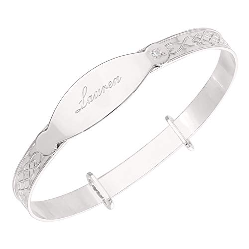 Personalised ANY NAME Baby Bangle Christening Birthday Expandable ID Bracelet - Sterling Silver Gift