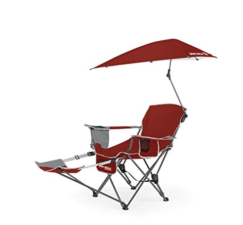 Sport-Brella 3-Position Recliner Chair with Removable Umbrella and Footrest, FireBrick Red