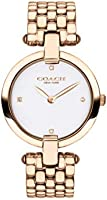 Coach Women'S White Dial Ionic Plated Carnation Gold Steel Watch - 14503321