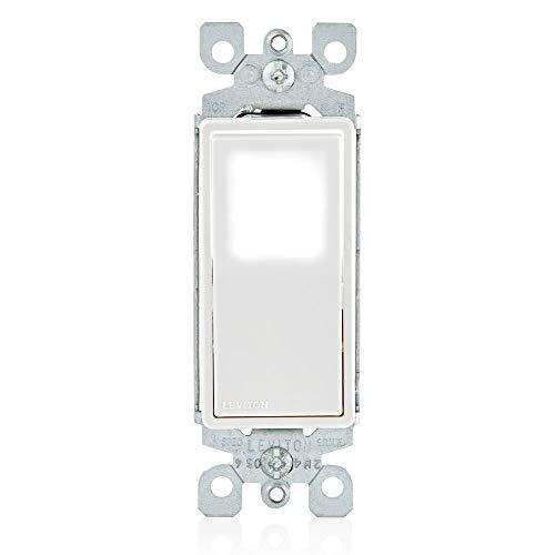 Leviton L5611-2W 15 Amp, 120/277 Volt, Decora LED Illuminated Rocker Single-Pole AC Quiet Switch, Residential Grade, Grounding, White