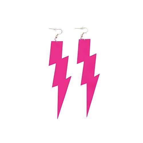 Oblique Unique® Blitz Ohrringe für 80s 80er Jahre Motto Party Fasching Karneval Kostüm Accessoires Flash Damen Ohrstecker Pink Schwarz Neon Grün - Farbe wählbar (Pink)