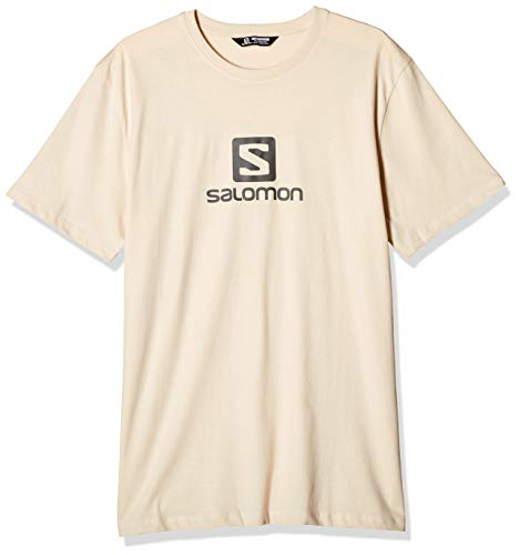 Salomon Herren COTON LOGO SS TEE M Short Sleeve T-shirt, Beige/Grau (Rainy Day/Ebony), Medium