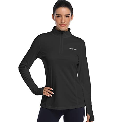HISKYWIN Womens UPF 50+ Sun Protection Tops Long Sleeve Half-Zip Thumb Hole Outdoor Performance Workout Shirt HF806 Black M
