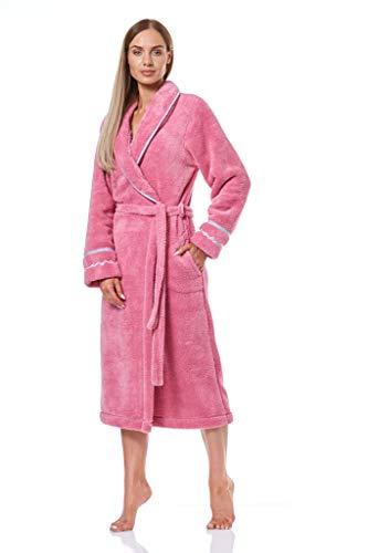L&L - 9141 Albornoz de baño Mujer con Manga Larga y Suave. Extremadamente Ligero. Vestido de Abrigo de Mujer de Largo Completo. (Golosina, Large)