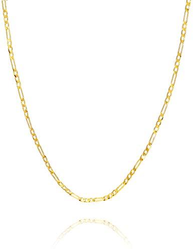 Cadena Figaro de oro de 24 quilates, larga y corta, eslabones planos, para hombres y mujeres.