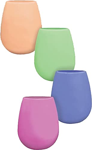 Shark Skizz Silicone wine glasses, 12-Ounce, Pink, Purple, Orange, and Lime