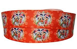 Mickey & Minnie Mouse Christmas 2M X 22mm Wide for Christmas Cake Ribbon Gift Wrap Decoration Ribbon & Decorating Ideas for Present Bows Toppers or Wrapping Bags Box Balloon String Cards Art Craft