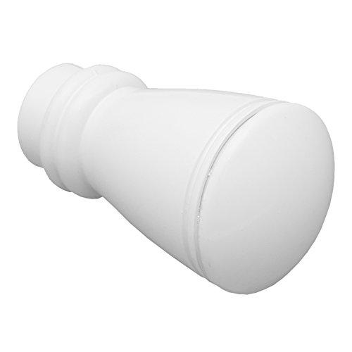 GARDINIA Endknöpfe für Gardinenstangen, 2 x Endstück Siro, Serie Chicago, Metall, Weiß, Durchmesser 20 mm