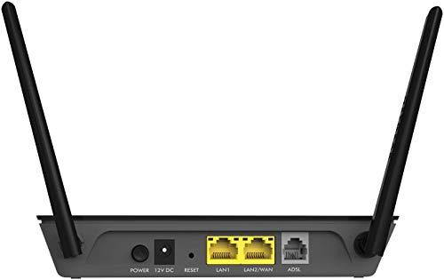 Netgear D1500 Modem con Router Integrato, Wi-Fi N300 Mbps, ADSL2+, 2 Porte Fast Ethernet, 2 Antenne Esterne, Nero