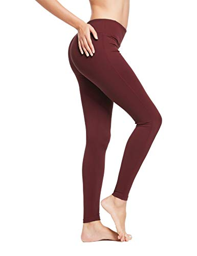 BALEAF Women's Ankle Legging Athletic Yoga Hiking Workout Running Pants Inner Pocket Non See-Through Ruby Wine Size S