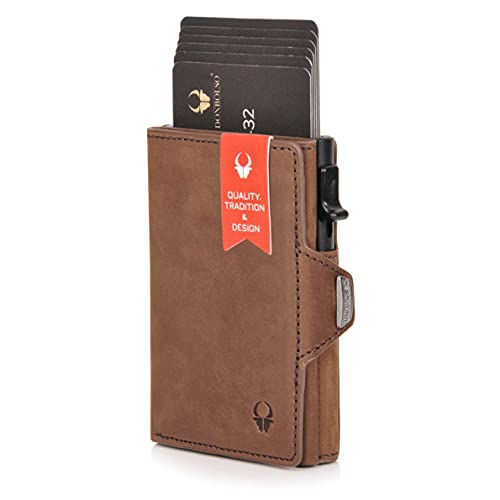 DONBOLSO® Wallety Flip I Slim Wallet mit Flipcase I Leder Geldbeutel mit RFID S...