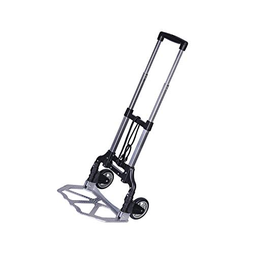 Hand Truck Foldable, Portable Aluminum Dolly Luggage Cart 165lbs Capacity with 2 Wheel, Folding Multi-use Carrier with Non-Skid Rubber Handle for Travel (Black)