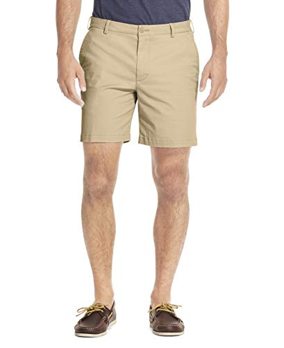 IZOD Men's Saltwater Stretch 7' Chino Short, Pale Khaki, 34