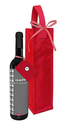 STEINBECK Wein Happy Birthday Geldgeschenk Geburtstag Mann trockener Rotwein aus Spanien 100% Tempranillo Valdepenas 2017 mit Flaschentasche Mitgebsel Freund Kumpel Arbeitskollege Geld verschenken
